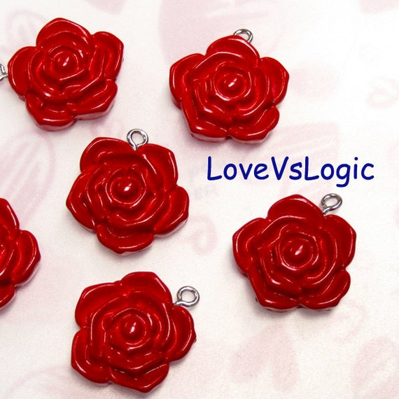 5 Rose Lucite Charms. Dark Red. 22mm