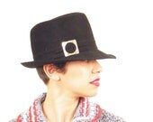 Vintage 1960s Black Fedora Hat / 60s Black Hat with Silver Buckle