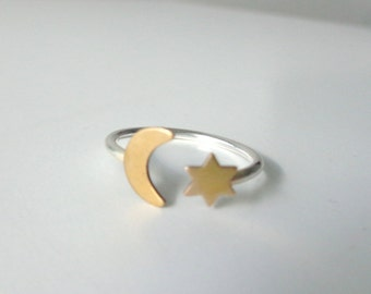 Moon star adjustable ring, statement ring