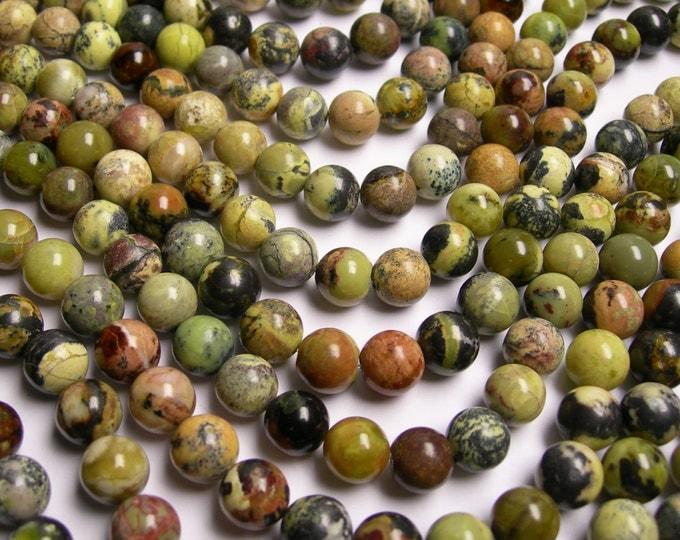 Yellow Turquoise - 10mm round beads - full strand - 40 beads - Yellow matrix turquoise -  RFG19