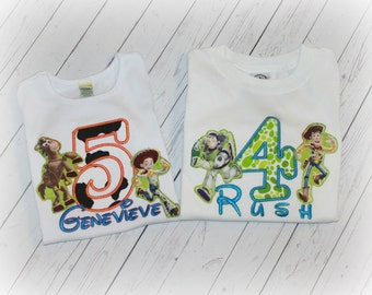 Boys or Girls Birthday Shirt Toy Story Woody, Jessie, Bullseye or Buzz Inspired Top Applique Bodysuit with Free NAME Pick and Colors Jesse