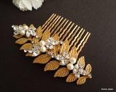 Pearl Hair Comb,Bridal Pearl crystal Hair Comb,Wedding Rhinestone Hair Comb,Gold Leaf Hair Comb,Ivory or White Pearl,Gold Hair Comb,RITA