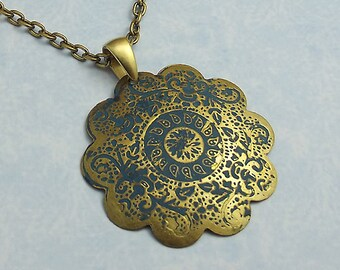 Turquoise Gold Medallion Necklace