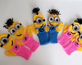 Kids,Baby,Adult Despicable Me Minion Mittens Gloves-MINION style fingerless gloves-Girl or Boy-Knitting Mittens or Crochet Mittens