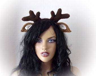 Deer Ears with Headband-Reindeer headband- Halloween Costume-Deer Antler Headband -adult size/woman/man accessory costume-weird headband