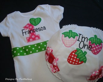 PERSONALIZED 1st Birthday Bodysuit and Diaper Cover -Birthday onesie-Strawberry Birthday-Strawberry Shortcake- Appliqued Strawberries