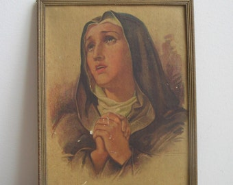 "Vintage Religious Wall Art Print ""Mother of Our Saviour, Queen of Martyrs"" By W. E. Sallman 1936 In Embossed Gold Wood Frame, Blessed Mother"