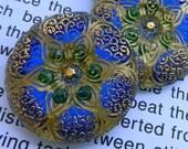 Czech glass Button Beatrice Blue Green Gold Shank 27mm