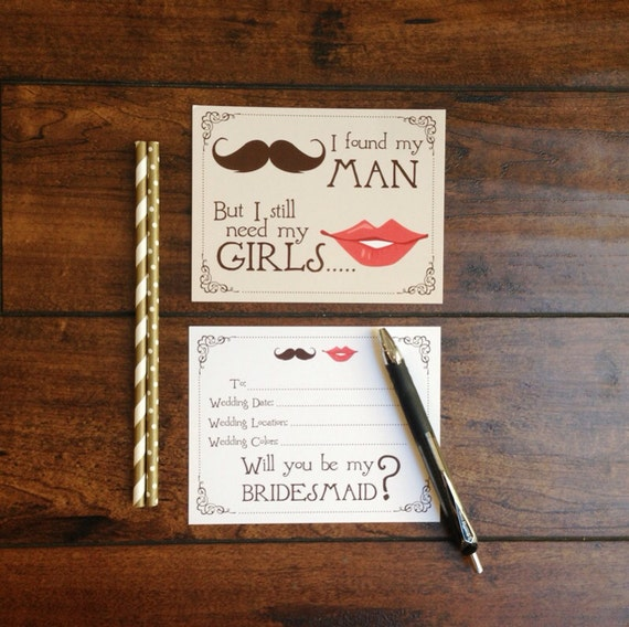Will you be my Bridesmaids Cards Mustache and Lips Found my Man Need my Girls Asking Bridesmaids Cards Bridesmaids Gifts Set of 8