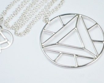 Sterling Silver Arc Reactor Necklace, Pendant, Hand Made, Silversmith