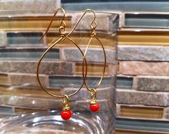 ELEGANT Gold Tone LOOPS with wire wrapped Rich Vibrant Coral Dangling Beads Statement Earrings Feminine Fashion Forward Trendy