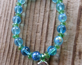 Dolphin Charm Blue Glass and Green Crystal Bead Stretch Bracelet