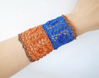 Crochet Lace Jewelry (Lace Fantasia III-a) Fiber Jewelry, Wide Bracelet, Crochet Bracelet