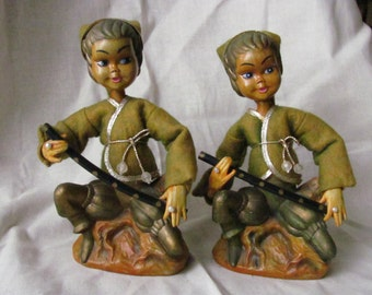 Pair of Flute Playing Vintage Holiday Elf  Pixies