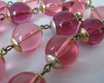 Mid Century Luscious Pink & Plum Lucite Bubble Necklace