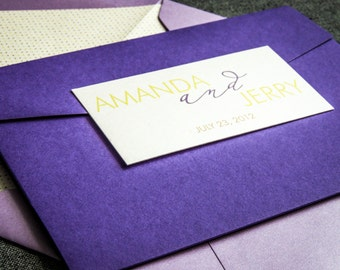 Eggplant, Yellow & Lavender, Purple Color Scheme, Spring / Summer Wedding Invitations, Modern Calligraphy - Pocketfold, 1 Layer, v1 -DEPOSIT