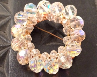 AB AURORA Borealis Crystal Faceted SPARKLE Sparkling Pin Handcraft Handmade Wreath Brooch Authentic Vintage 30s 40s Jewelry talkingfashion