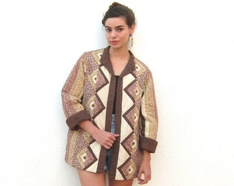 SALE Vintage Floral Quilted Beige Brown Geometric Handmade Jacket Size Medium