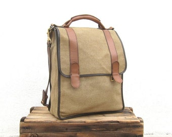 SALE Satchel Briefcase Cross Body Large Italian Beige Canvas and Tan Leather Bag