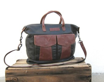 Vintage Slouchy Black and Cognac Leather Tote Duffle Travel Bag