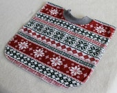 Large Pull Over Bib - Green and Red Fair Isle