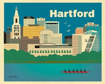 Hartford Print, Hartford Skyline, Hartford Wall Art, Hartford Map, Connecticut Poster, Hartford baby print, Loose Petals Art, style E8-O-HAR