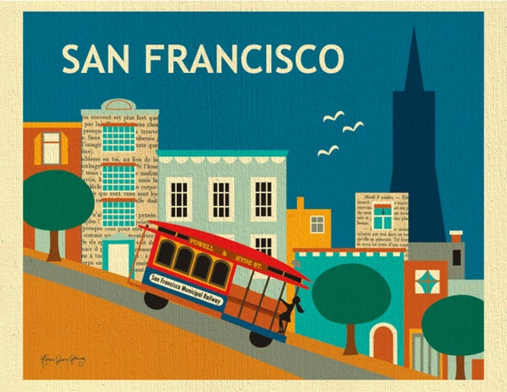 San Francisco Print of  Nob Hill, SF City Horizontal Print, Downtown, San Francisco SF Cable car print, SF Baby Nursery Art, style E8-O-SF17