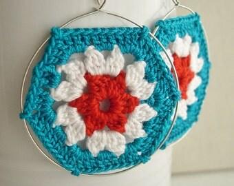 Granny Hexagon Teal White Dark Orange Earrings - Fashion Lace Earrings - Retro Style - Lace Fashion hexagon earrings