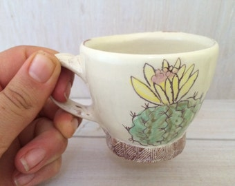 MADE TO ORDER // Cactus with Yellow Flower Espresso Cup