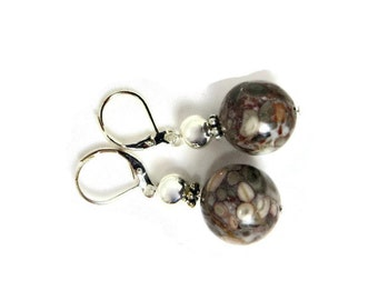 Agatized Fossil Shell and Silver Bead Dangle Earrings