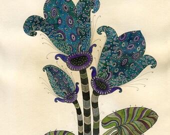 Blue Flower Watercolor  - Original Illustration -  Original Painting