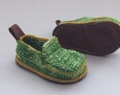 Sale - Babies House Shoes in green mix and mustard yellow trim - Moccasins - Babies U.S. size 6 1/2/EUR 23 - 50% off - Christmas in July Sal