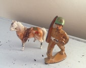 Cast Metal Army Guy / Cast Metal Toy / Toy Soldier / Cast Metal Horse / Vintage Metal Army Guy / kisvteam