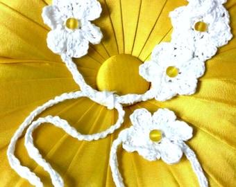 Custom Crochet Flower Crown Headband and Bracelet with Glass Beads