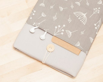 iPad Air case, iPad air cover, iPad Pro sleeve, iPad air 2 sleeve padded  - floral in grey with pockets -