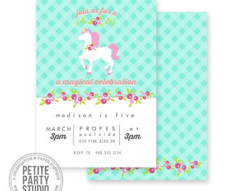 Unicorn Printable Party Invitation - Birthday or Baby Shower - Petite Party Studio