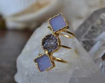 MOON RISING  /// Size 6 /// Druzy Ring /// Electroformed 24kt Gold