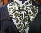 Cravat, In A Green, Ivory and Light Blue Camo fabric or Ascot Mens Victorian Tie
