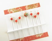 Red Fancy Sewing Pins Hand Painted Ceramic Bead with Bamboo Coral on Rhinestone Pins