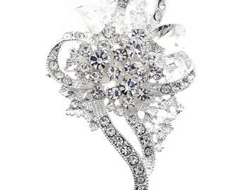 Crystal Flower Wedding Pin 1004061