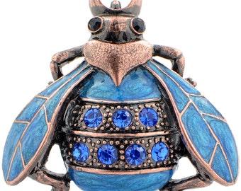 Vintage Style Blue Bee Bug Pin Brooch 1003042