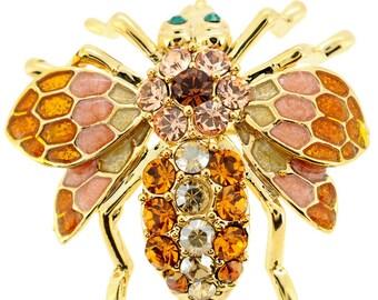 Golden Topaz Bee Bug Swarovski Crystal Pin Brooch 1011692