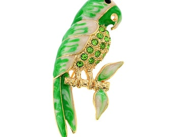Green Parrot Crystal Pin Brooch 1003982