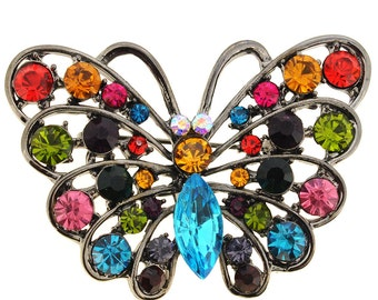 Multicolor Butterfly Pin Brooch And Pendant 1013091