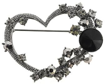 Smokey Black Heart Pin Brooch 1002441