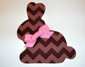 Iron On Easter Applique Chocolate Chevron Stripe Bunny With Pink Bow