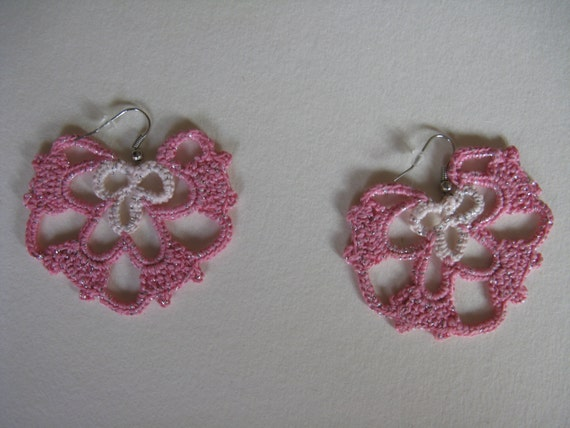 Egyptian cotton lame crochet earrings handmade in different colors: light pink, hot pink, lavender violet, yellow and brown