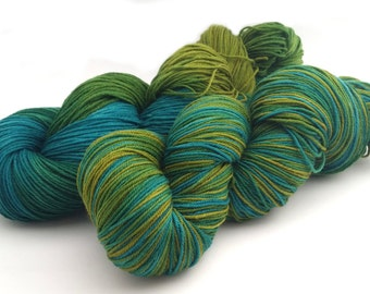 Hand Dyed Yarn - Several Bases - Meadow - Blue and Green