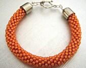 Orange Bead Crochet Bracelet -  Mandarin Bangle - Light orange Beaded rope bracelet