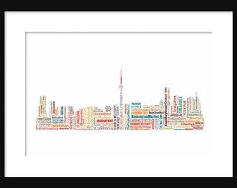Toronto Canada Skyline Word Art Typography Color Print Poster